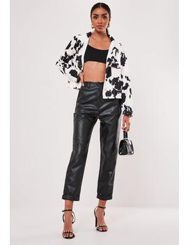 Petite Black Faux Leather Turn Up Hem Cigarette Pants by Missguided