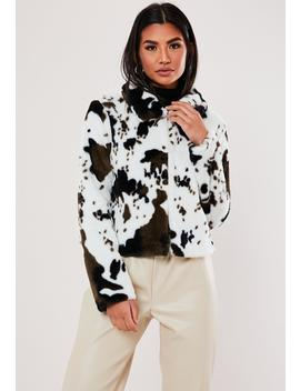 White Cow Print Faux Fur Trucker Jacket by Missguided