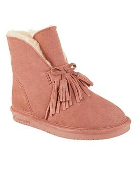 """<Span Class=""""Callout Exclusive"""">Exclusive!</Span>                  Bearpaw® Christie Suede Sheepskin Fringe Boot With Never Wet™ by Bearpaw"""