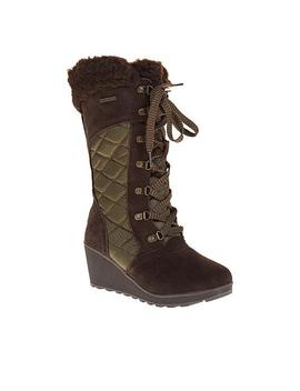 """<Span Class=""""Callout New"""">New!</Span>                   Bearpaw® Destiny Suede Nylon Lace Up Wedge Boot With Never Wet™ by Bearpaw"""