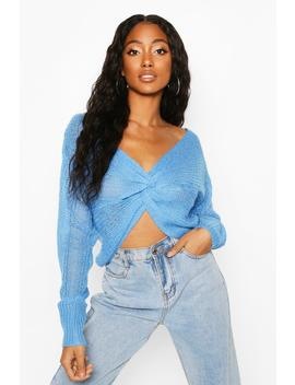 Loose Knit Twist Cropped Jumper by Boohoo