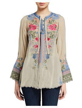 Plus Size Millie Embroidered Blouse by Johnny Was