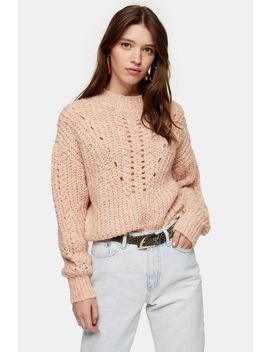 Pink Textured Pointelle Knitted Jumper by Topshop