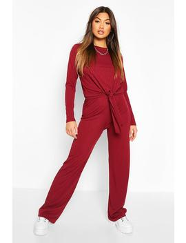 Rib Knot Tie Front And Trouser Co Ord by Boohoo