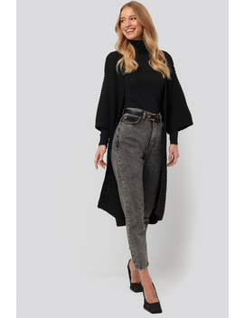 Short Sleeve Heavy Knitted Cardigan Black by Na Kd Trend