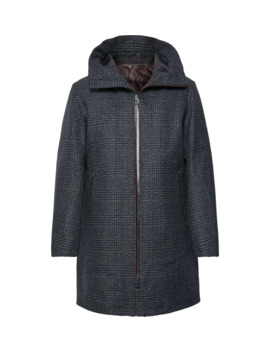 Checked Wool Blend Tweed Hooded Coat With Detachable Shell Liner by Herno Laminar