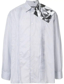 Pinstriped Shirt With Photo Print On The Shoulder by Raf Simons