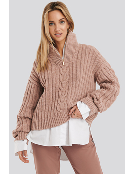 Wool Blend Half Zip Cable Sweater Pink by Na Kd