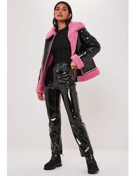 Pink Borg Teddy Vinyl Aviator Jacket by Missguided