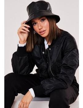 Black Matte Faux Leather Bucket Hat by Missguided