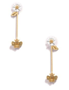 All Abuzz Bee Gold Plated Linear Drop Earrings by Kate Spade New York