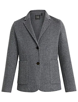Double Faced Shrunken Wool Blend Blazer by Theory