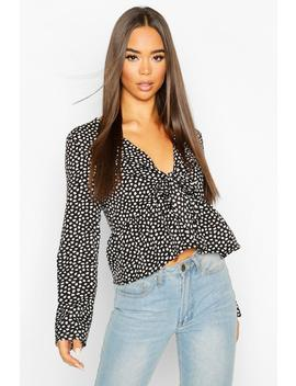 Smudge Print Tie Front Wide Sleeve Top by Boohoo