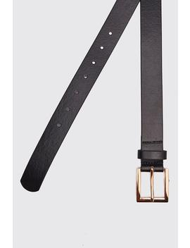 Leather Look Square Buckle Belt by Boohoo