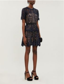 Tiered Floral Lace Mini Dress by Self Portrait