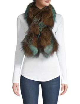 Silver Fox Fur Pull Through Camo Scarf by Adrienne Landau