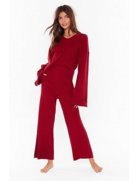 Rest Up Ribbed Hoodie And Wide Leg Lounge Set by Nasty Gal