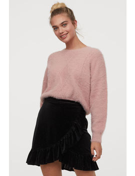 Flounced Velour Skirt by H&M