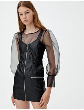 Vestido Efecto Piel Cremalleras by Pull & Bear
