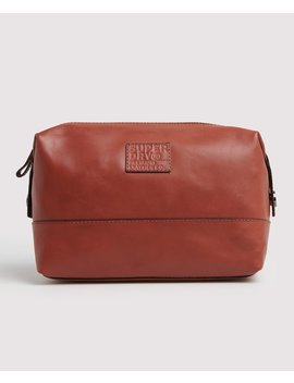 Premium Leather Washbag by Superdry