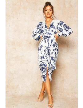 Floral Print Plunge Tie Waist Midi Dress by Boohoo