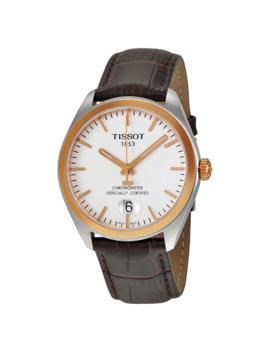 Pr100 Silver Dial Brown Leather Men's Watch T1014512603100 by Tissot