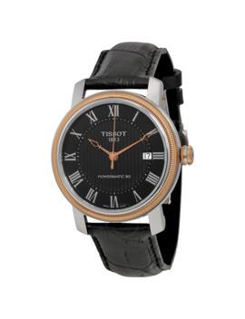 T Classic Bridgeport Powermatic 80 Black Dial Black Leather Men's Watch by Tissot