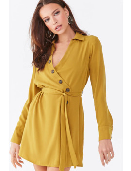 Asymmetrical Button Front Shirt Dress by Forever 21