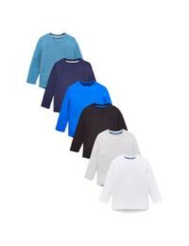 Boys 6 Pack Long Sleeve Core T Shirts   Multi by V By Very