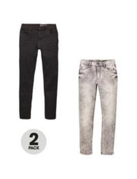Boys 2 Pack Skinny Jeans   Black/Grey by V By Very