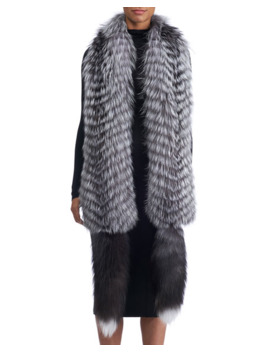 Gorski Feathered Silver Fox Fur Boa With Detachable Tails by Gorski