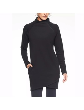 Athleta Cozy Karma Asym Sweatshirt Dress Black Nwt   Nwt by Athleta