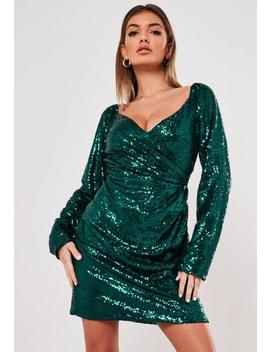 Green Sequin Wrap Side Sequin Dress by Missguided