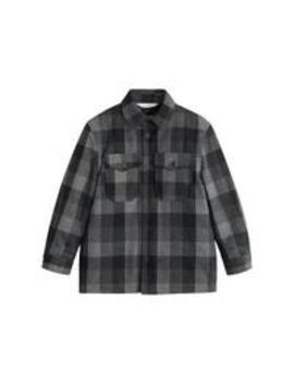 Boys Long Sleeve Check Shacket   Grey by Mango