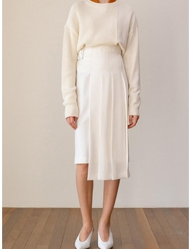 Kindersalmon High Waist Pleats Skirt   White by Garmentory