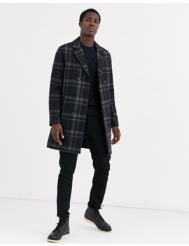 Selected Homme – Zweireihige, Karierte Cabanjacke Aus Wolle In Grau by Asos