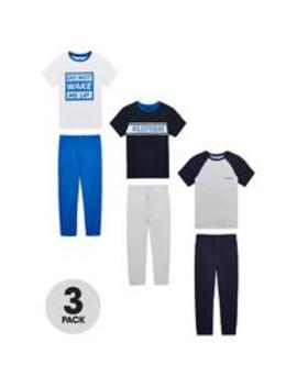 Boys 3 Pack Sleep Squad Pyjamas   Blue by V By Very