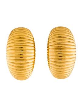 Vintage Ribbed Clip On Earrings by Christian Dior