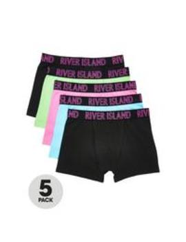 Boys 5 Pack Neon Boxers Multi by River Island
