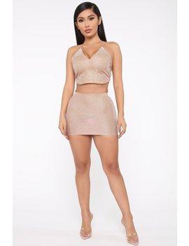 Take The Town Metallic Skirt Set   Pink by Fashion Nova