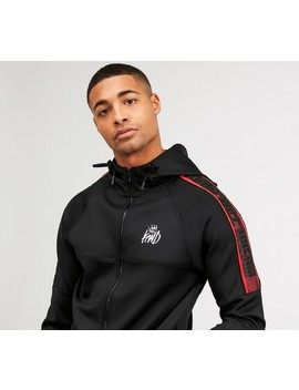Rallor Zip Through Hooded Top | Black / Red / White by Kings Will Dream