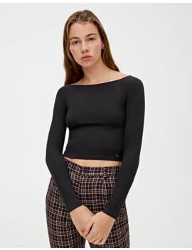 T Shirt Básica Com Decote Barco by Pull & Bear