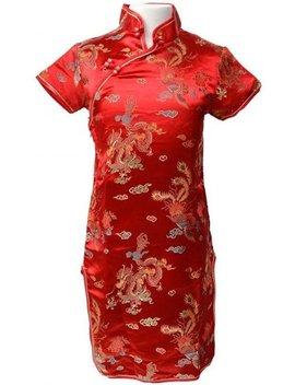 Chinese Jurk Voor Dames   Rood   Maat S   Verkleed Jurk   Verkleedkleding by Spaansejurk Nl
