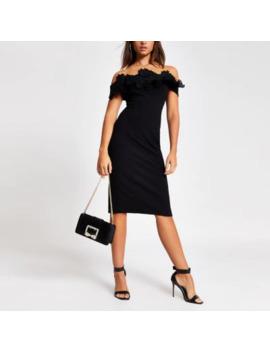 Black Lace Frill Bardot Bodycon Midi Dress by River Island