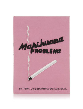 Marihuana Problems Appliquéd Embroidered Canvas Clutch by Olympia Le Tan