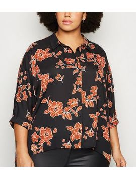Curves Black Floral Batwing Shirt by New Look