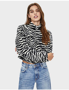 Printed Fleece Jacket by Bershka