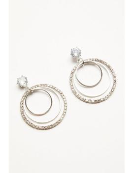 Silver Diamante Triple Hoop Earrings by Quiz