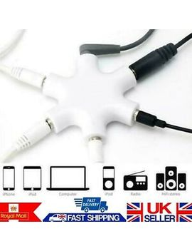Audio Splitter Aux Jack Hub 3.5mm Headset Headphone Earphones Adapter 5 Way Cable by Ebay Seller