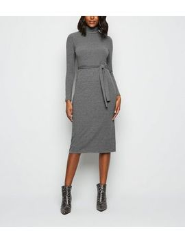 Dark Grey Ribbed Roll Neck Belted Midi Dress by New Look